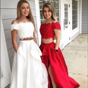 White prom dress, two piece, laced, flow